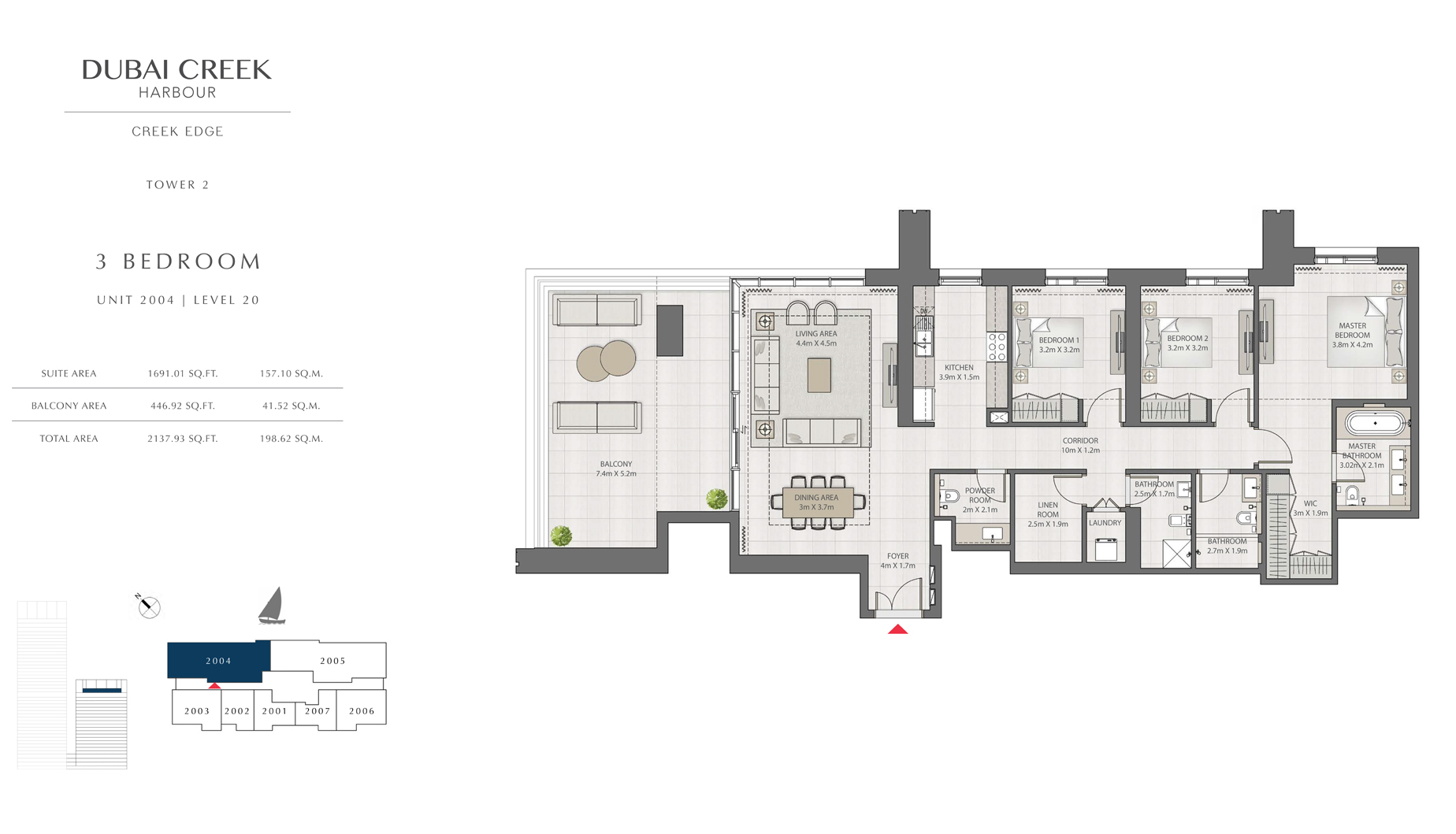 3 Bedroom Tower 2 Unit 2004 Level 20 Size 2137 sq.ft