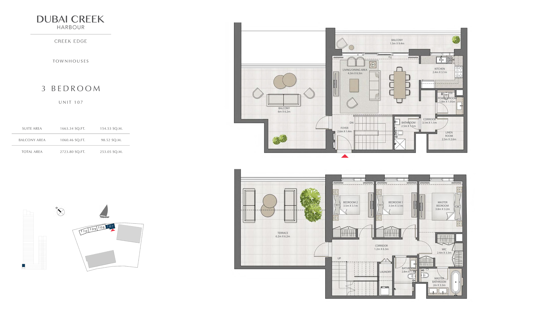3 Bedroom Townhouses Unit 107 Size 2723 sq.ft