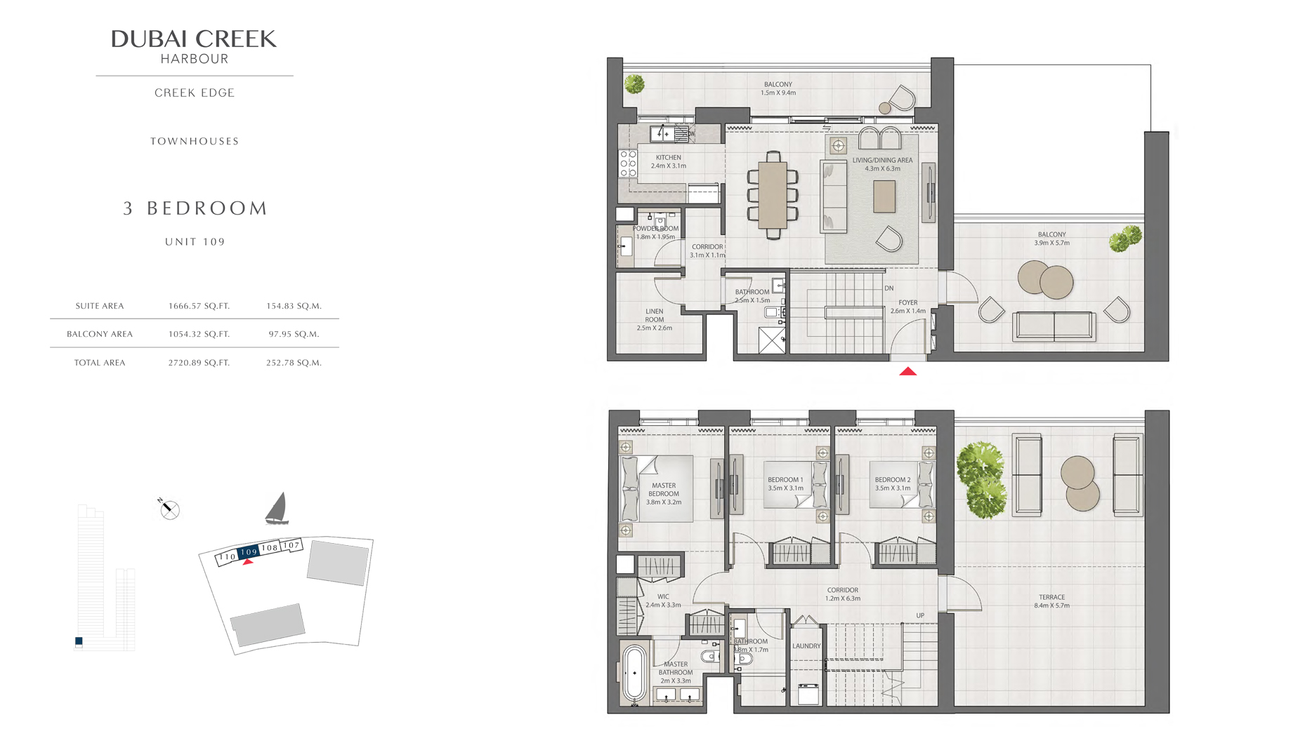 3 Bedroom Townhouses Unit 109 Size 2720 sq.ft
