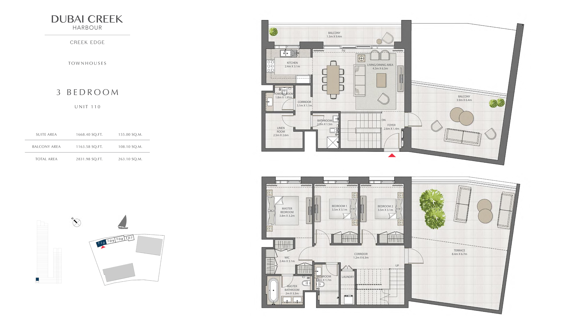 3 Bedroom Townhouses Unit 110 Size 2831 sq.ft