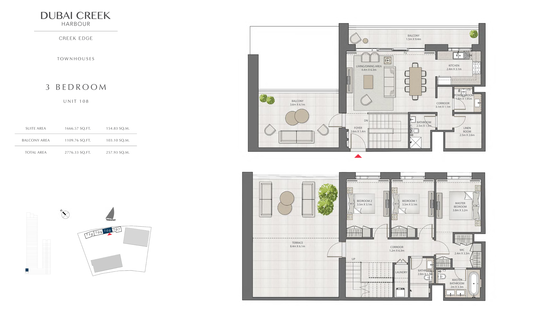3 Bedroom Townhouses Unit 108 Size 2776 sq.ft