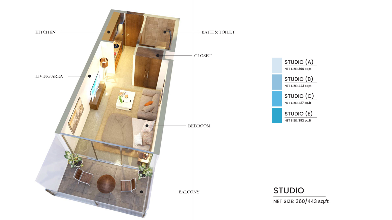 Studio Type A, B, C, E, Size 360 Sq Ft
