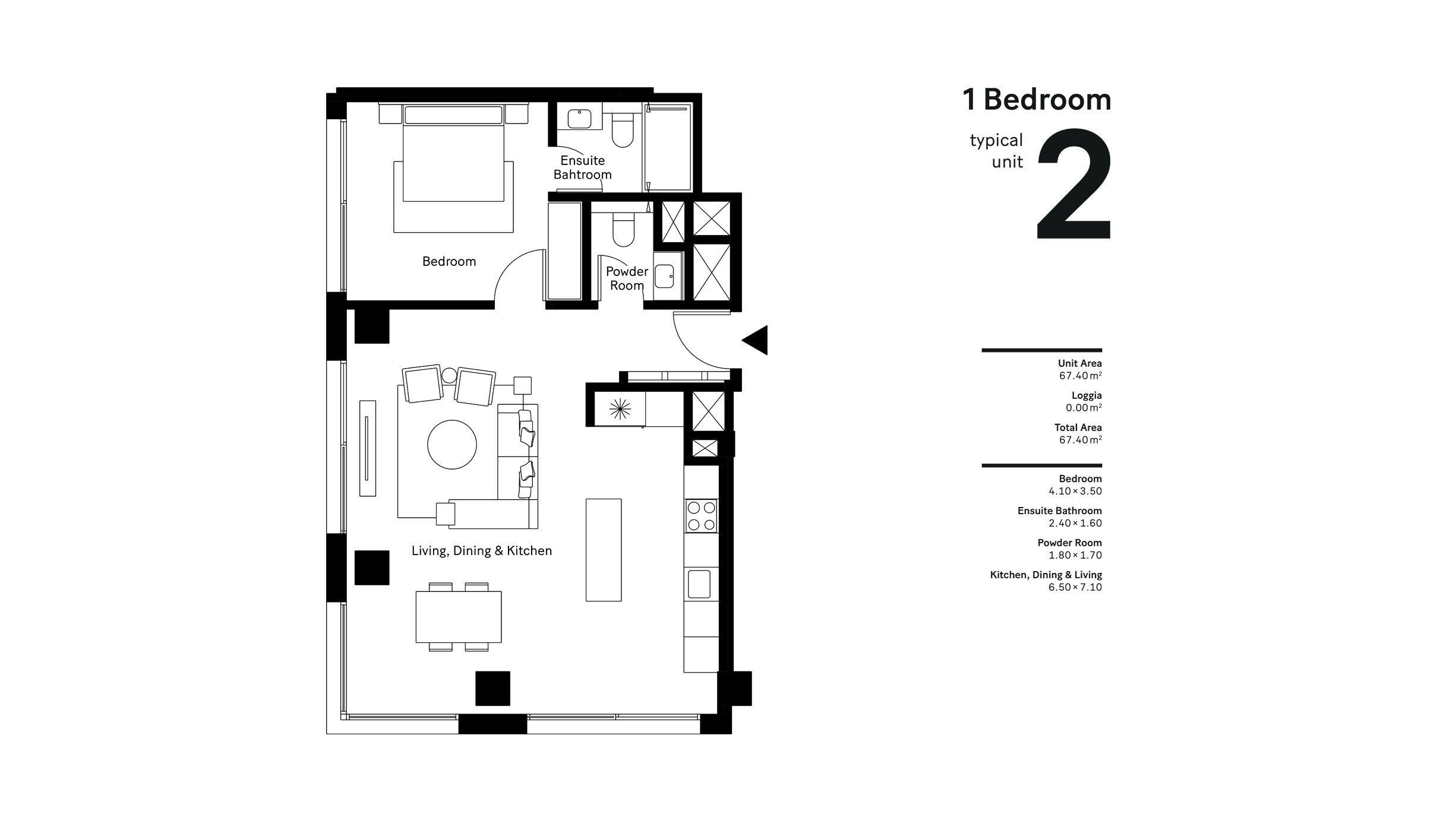 1 Bedroom Typical Unit 2, Size 67.40 Sqm