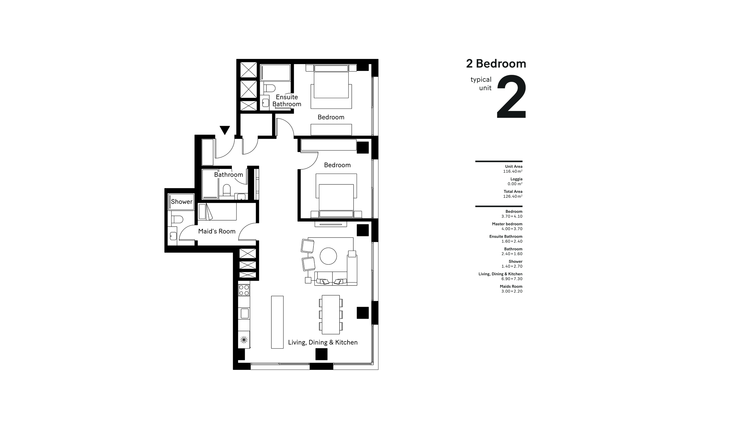 2 Bedroom Typical Unit 2, Size 126.40 Sqm