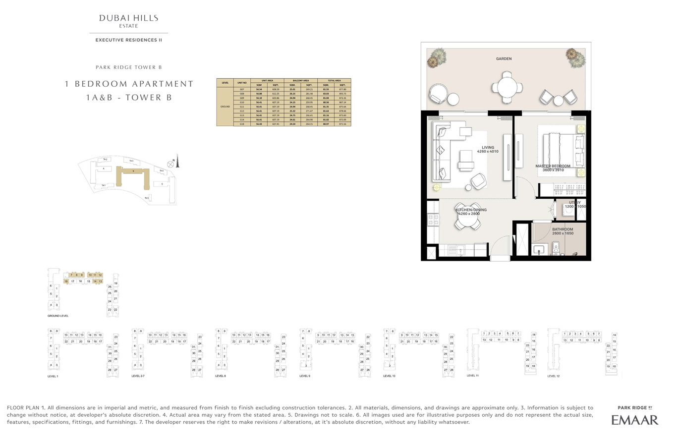 1 Bedroom Type 1A & B, Tower B, Size 871 Sq Ft
