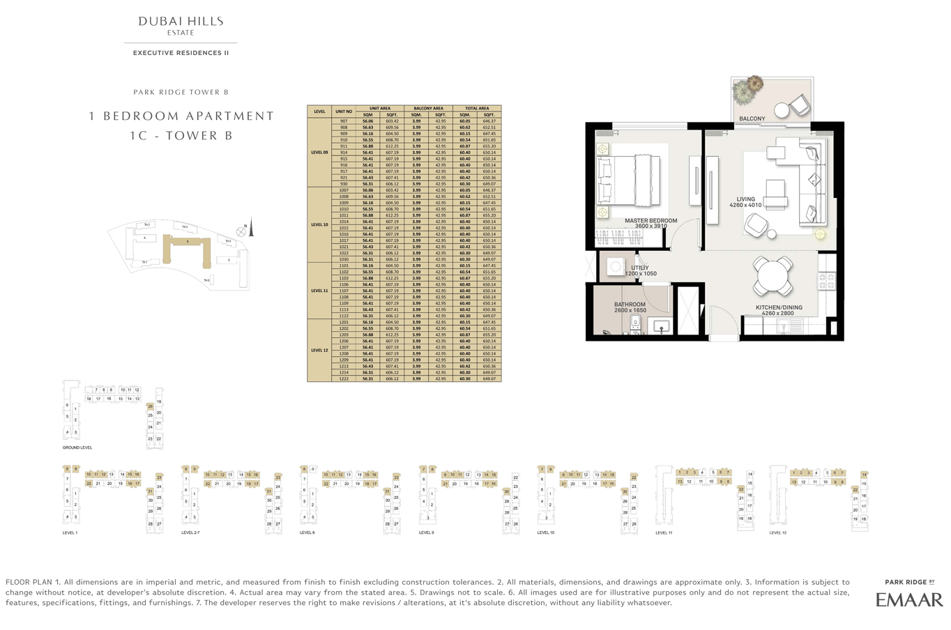 1 Bedroom Type 1C, Tower B, Size 647 Sq Ft