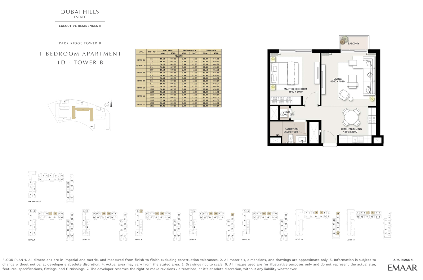 1 Bedroom Type 1D, Tower B, Size 646.81 Sq Ft