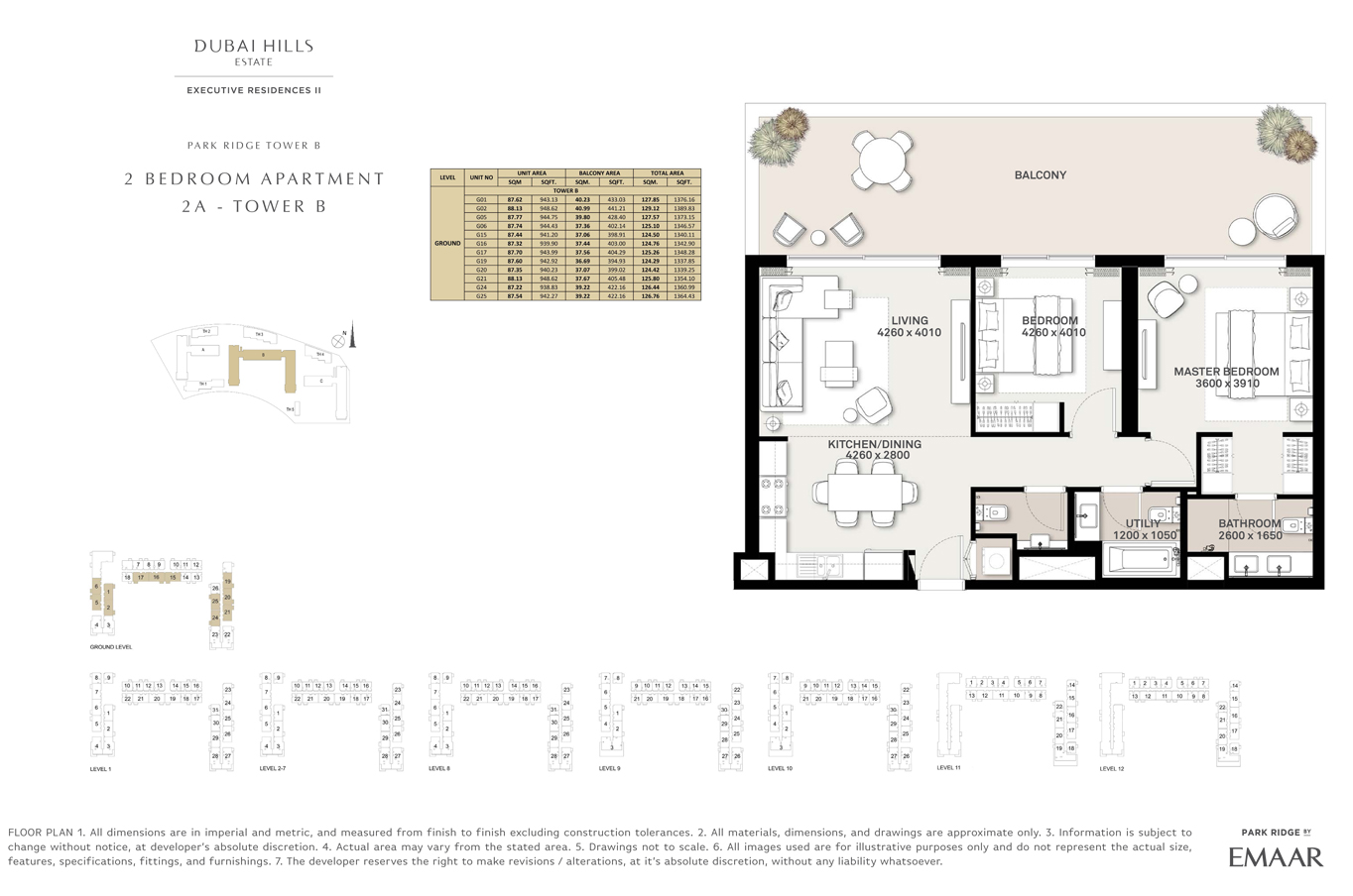 2 Bedroom Type 2A, Tower B, Size 1337 Sq Ft