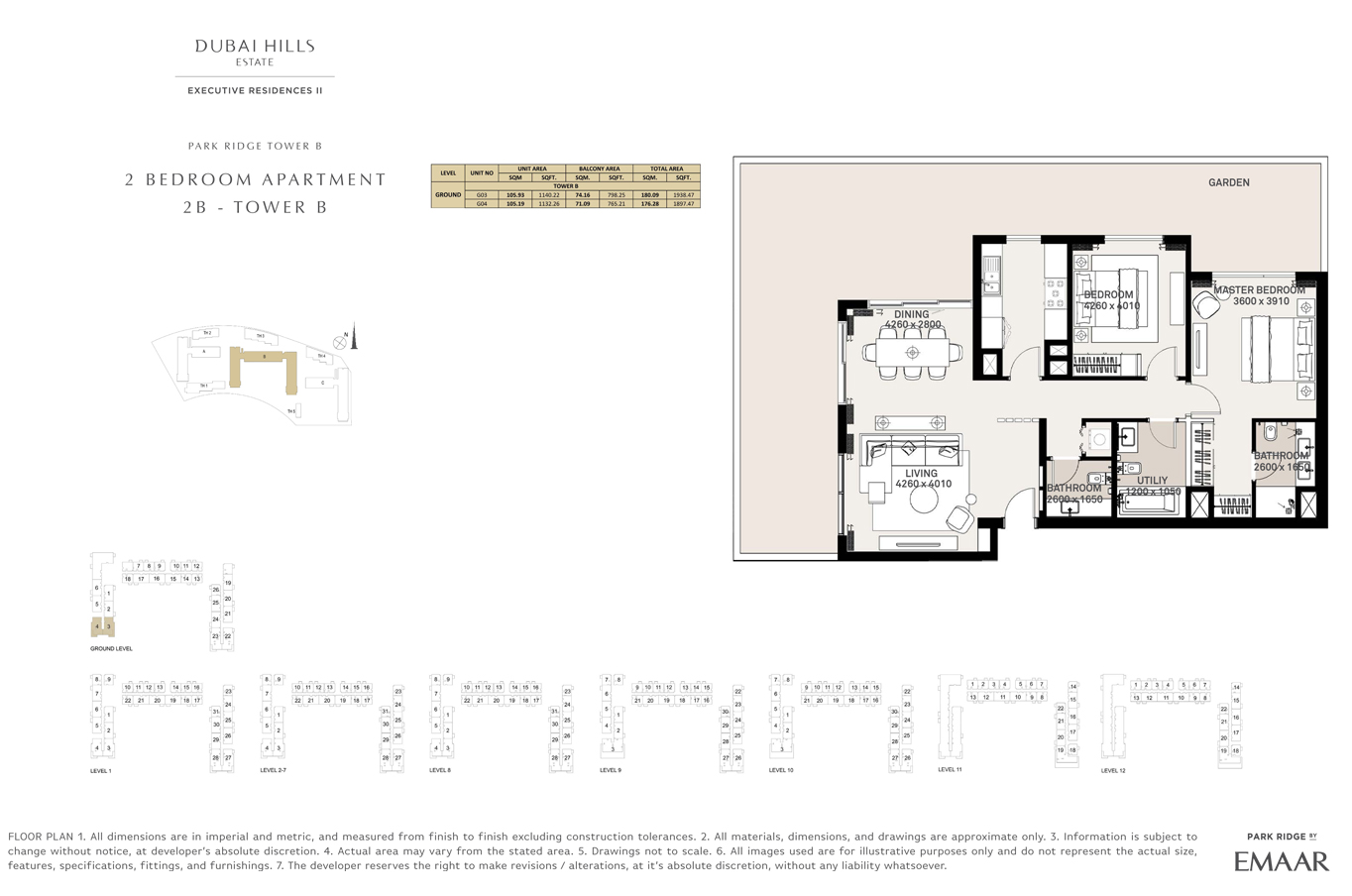 2 Bedroom Type 2B, Tower B, Size 1897 Sq Ft