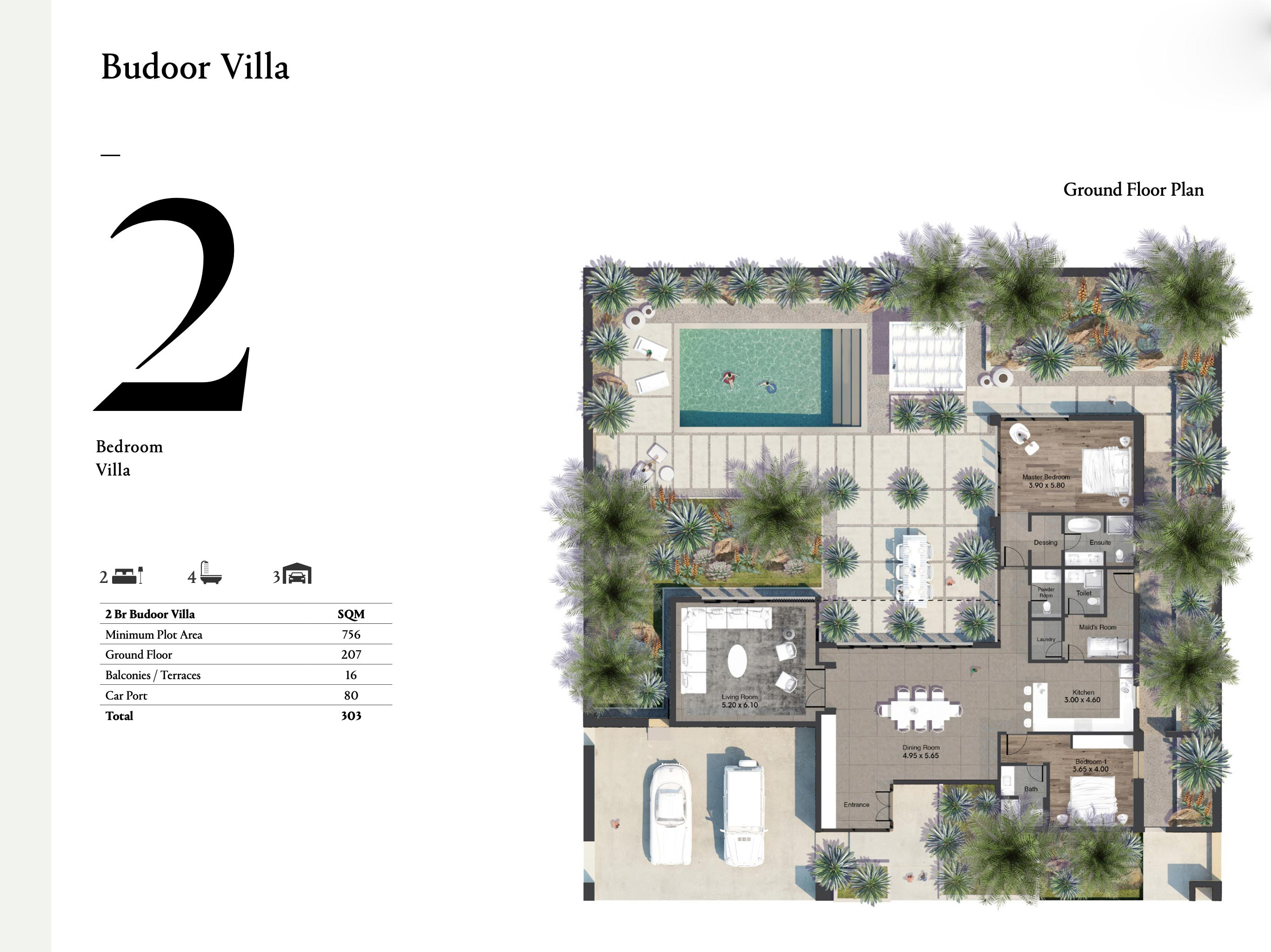 Budoor Villa 2 Bedroom units with a size area of 303 sqm