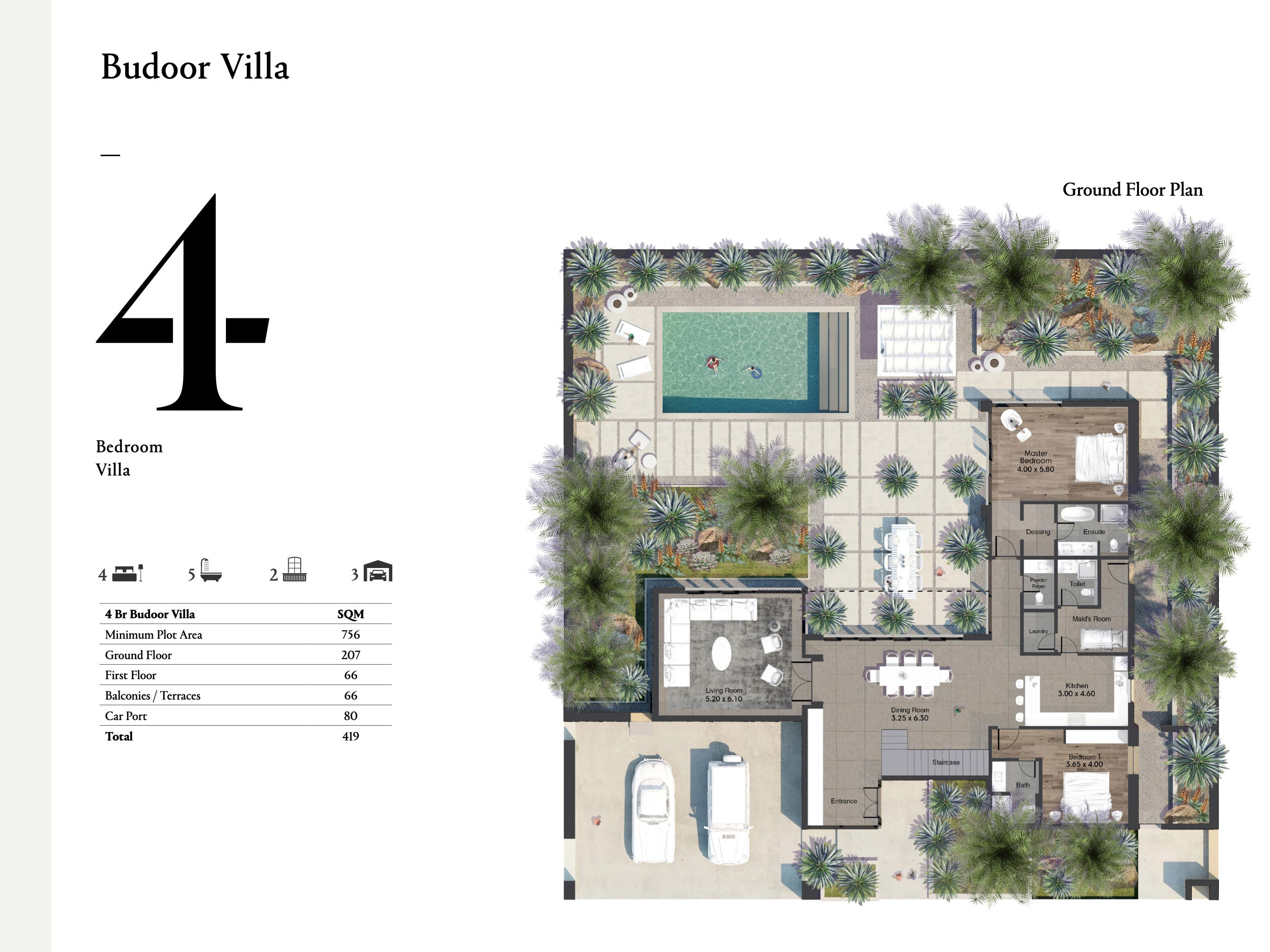 Budoor Villa - 4 Bedroom with a size area of 419 sqm
