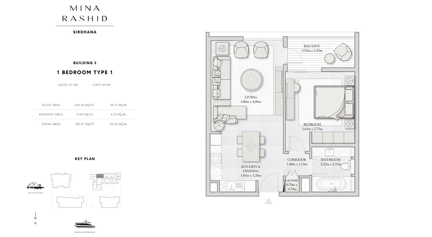 1-Bedroom-Type-1, Building-3, Level-7-8, Size-705-Sq-Ft