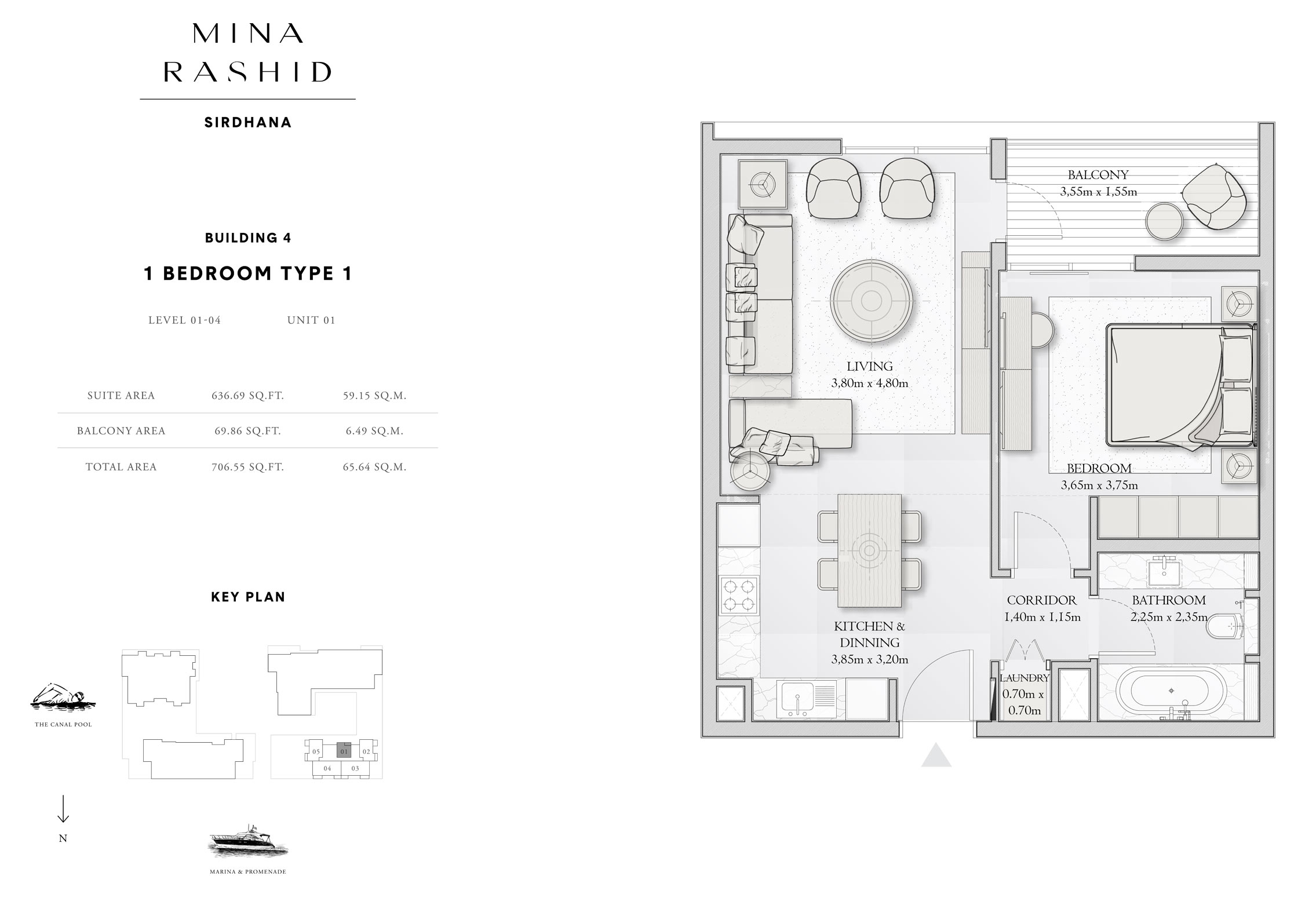 1-Bedroom-Type-4 B, Building-4, Level-1 to 4, Size-706-Sq-Ft