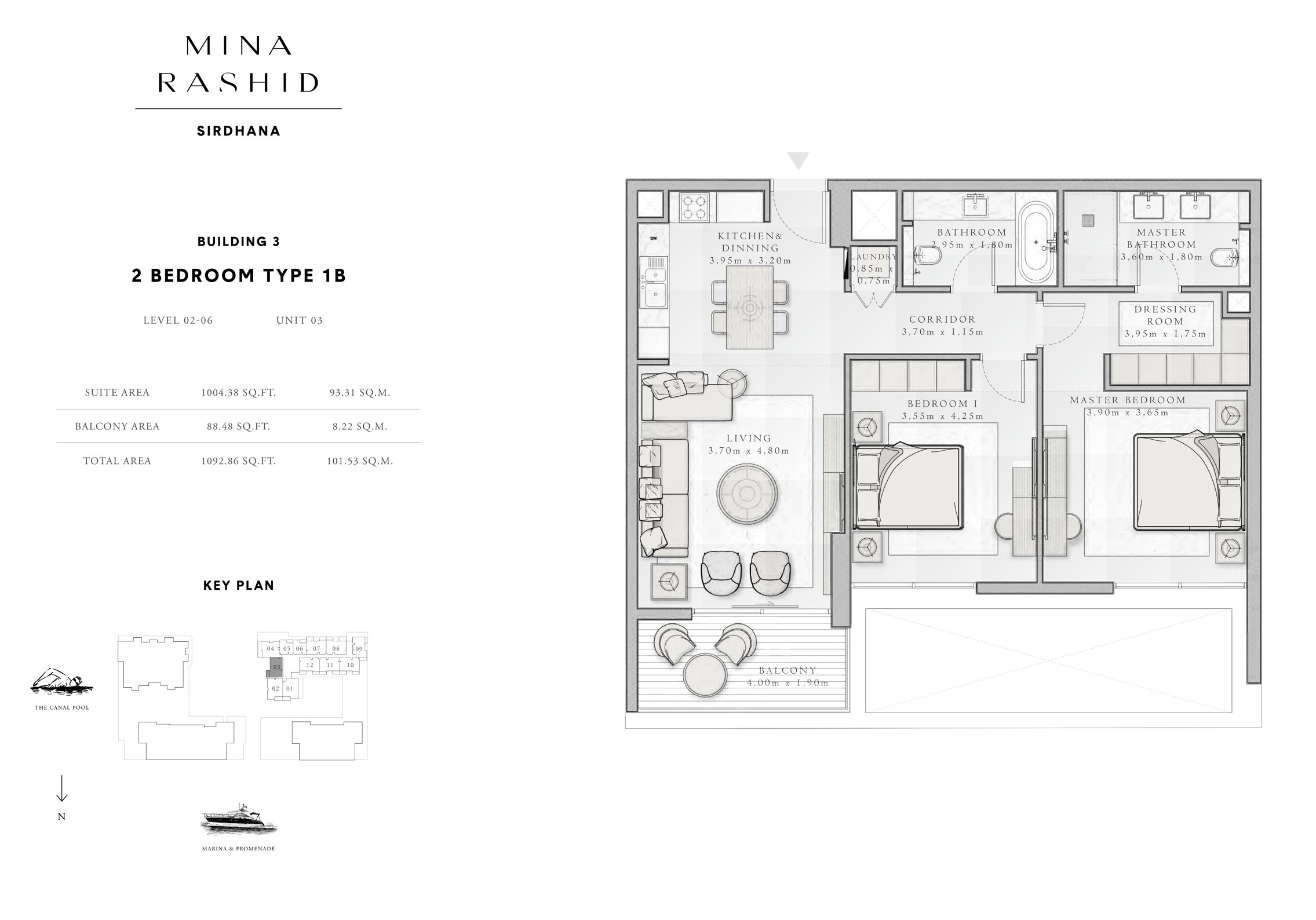 2-Bedroom-Type-1 B, Building-3, Level-2 to 6, Size-1092-Sq-Ft
