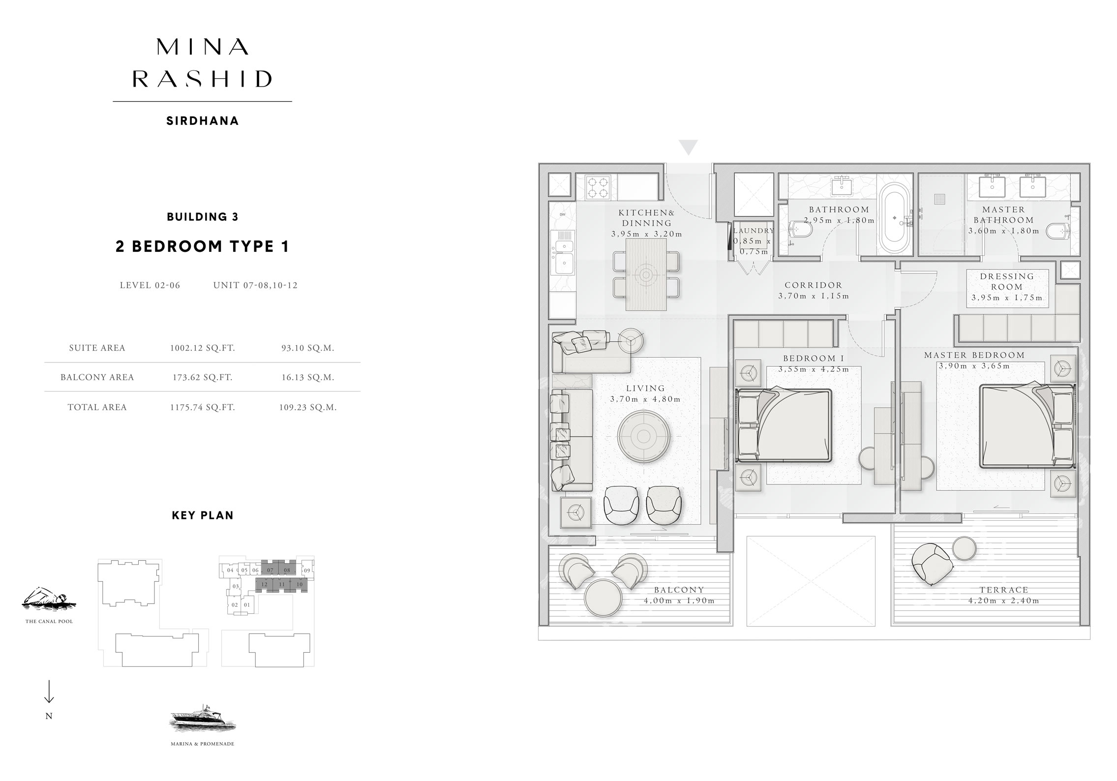 2-Bedroom-Type-1, Building-3, Level-2 to 6, Size-1175-Sq-Ft