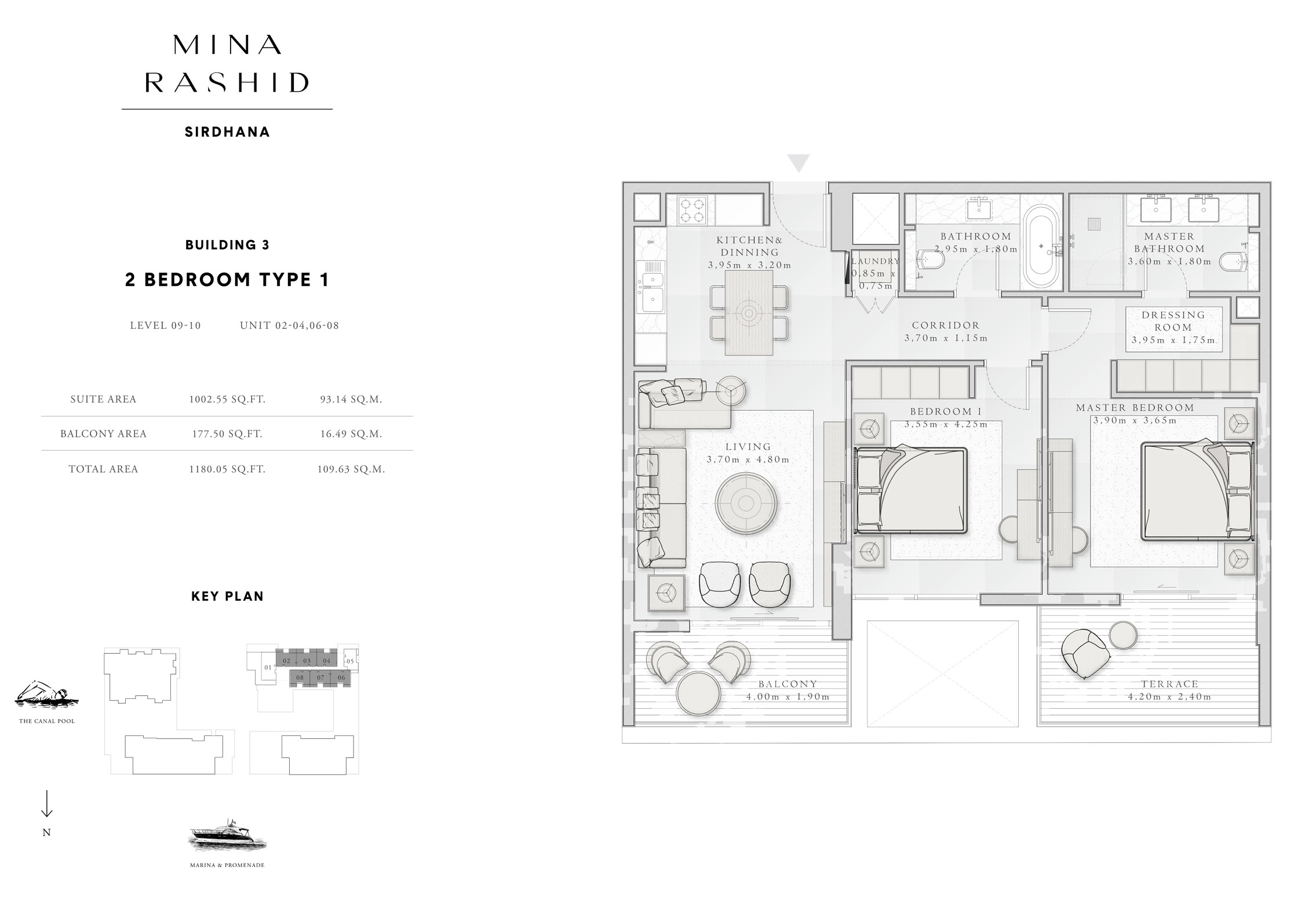 2-Bedroom-Type-1, Building-3, Level-9 to 10, Size-1180-Sq-Ft