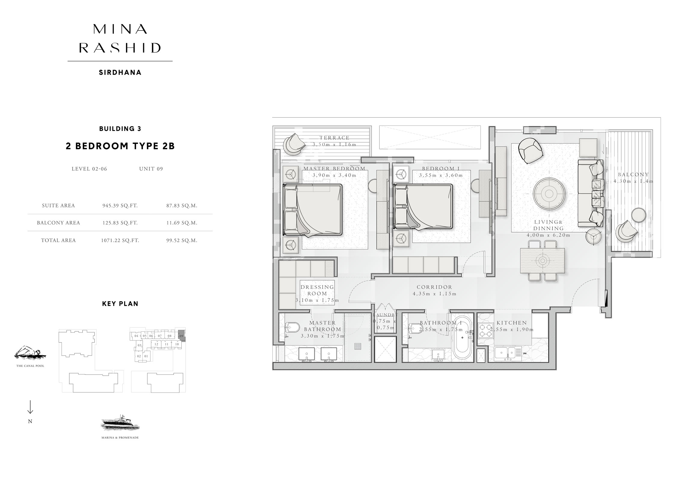2-Bedroom-Type-2 B, Building-3, Level-2 to 6, Size-1071-Sq-Ft