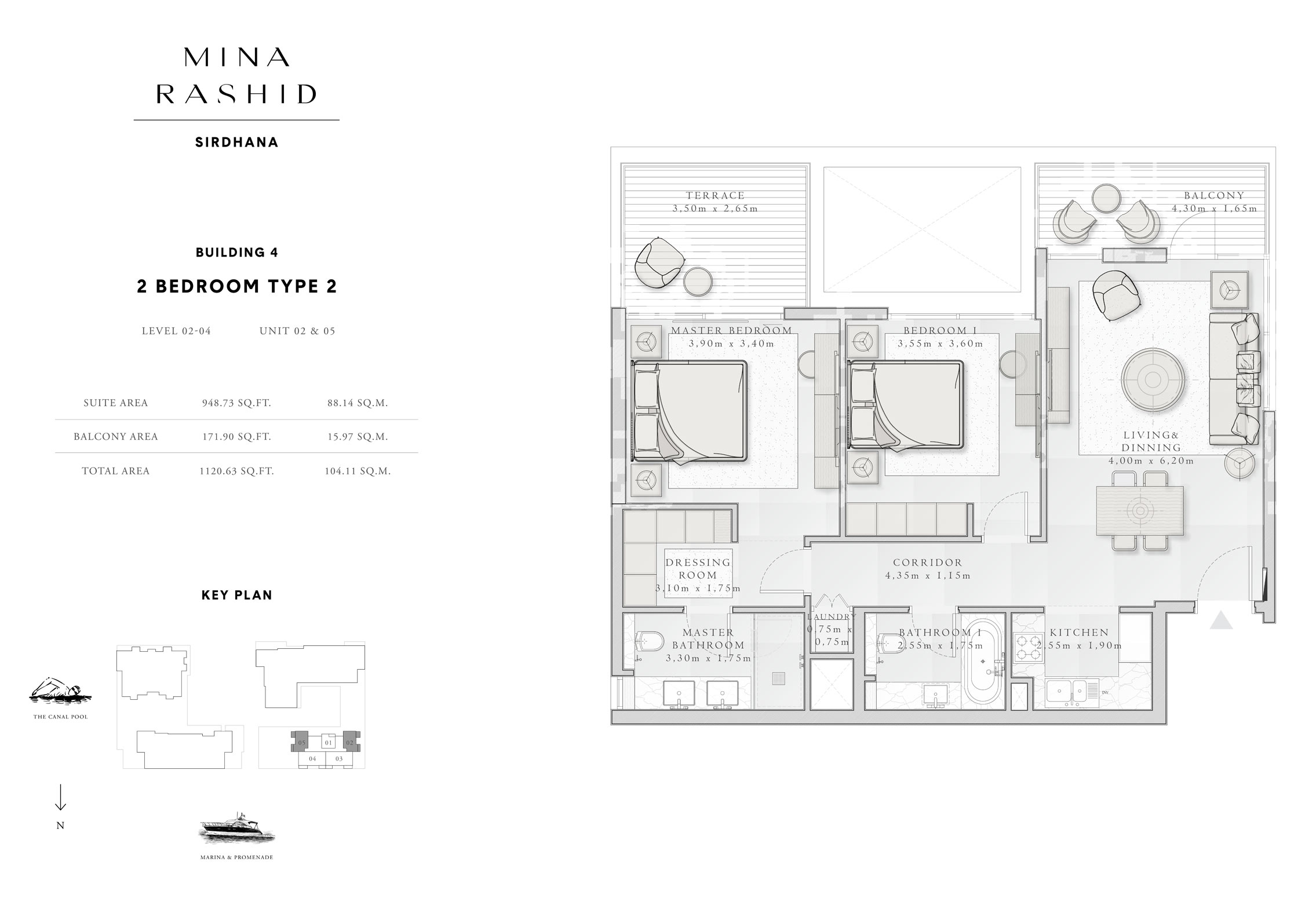 2-Bedroom-Type-2, Building-4, Level-2 to 4, Size-1120-Sq-Ft