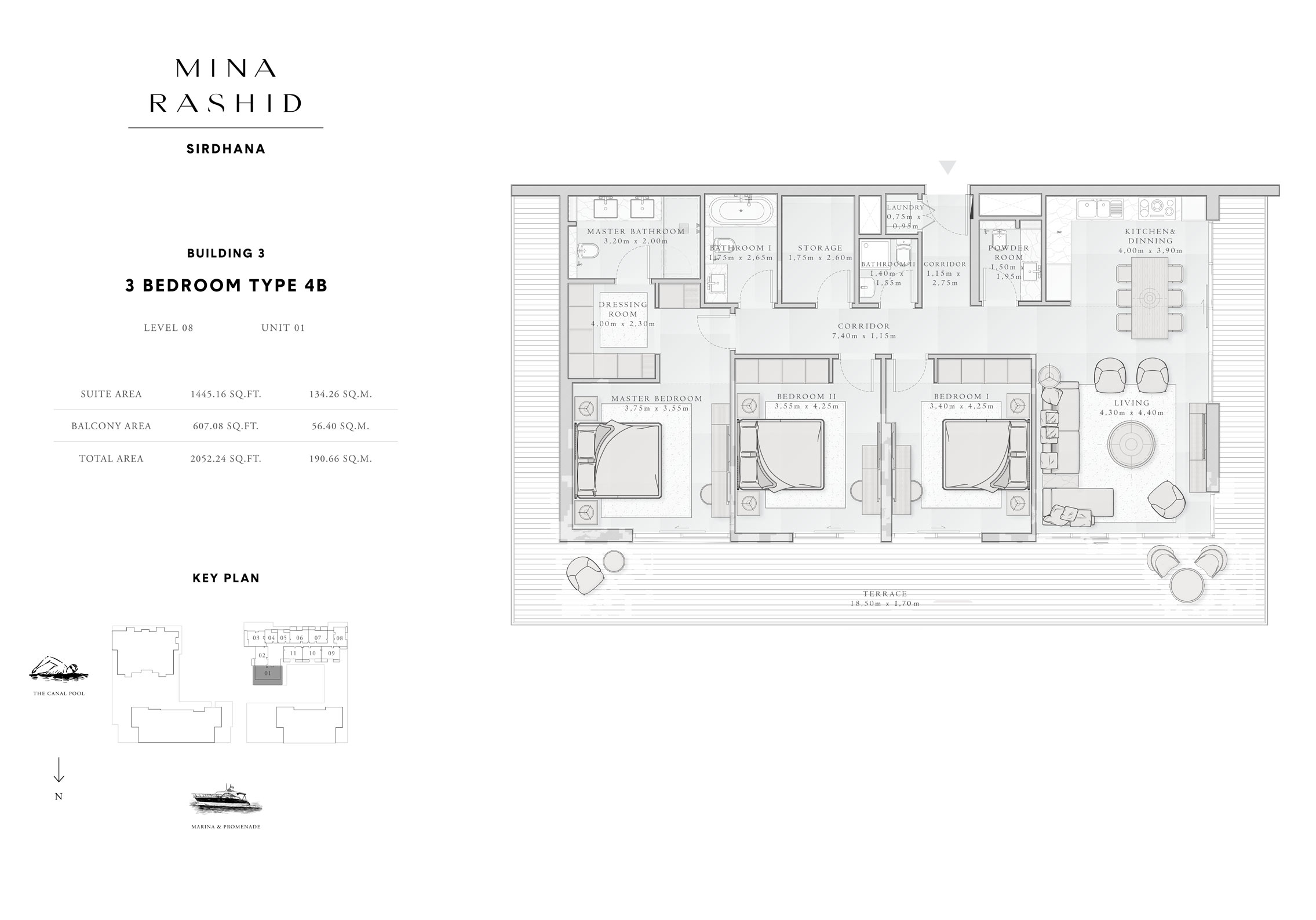 3-Bedroom-Type-4 B, Building-3, Level-8, Size-2052-Sq-Ft