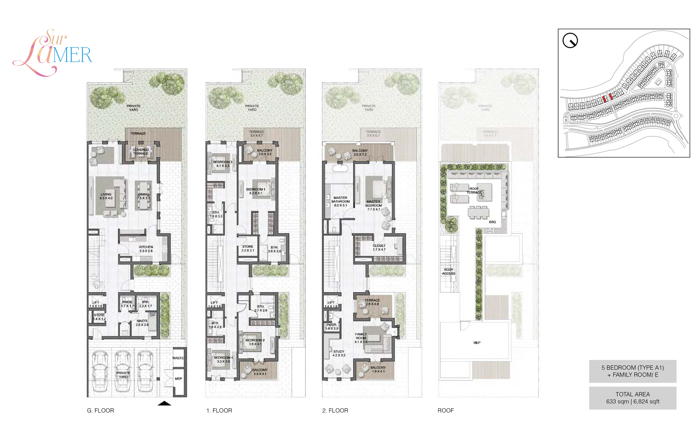 5 Bedroom Type A1, Size 6824 sq.ft