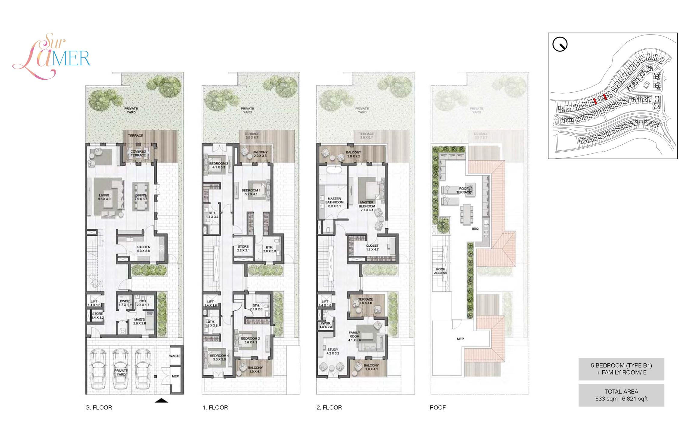 5 Bedroom Type B1, Szie 6821 sq.ft