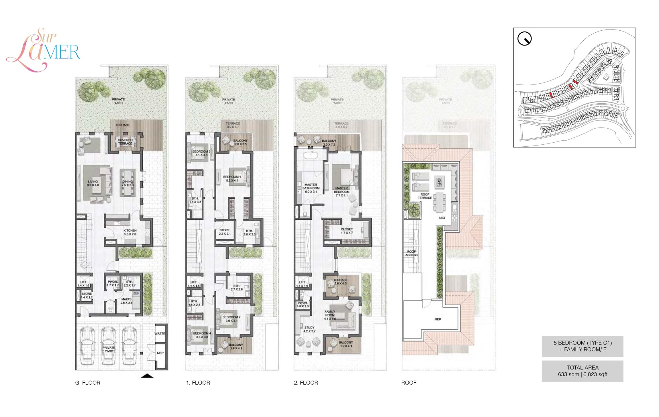 5 Bedroom Type C1, Szie 6823 sq.ft