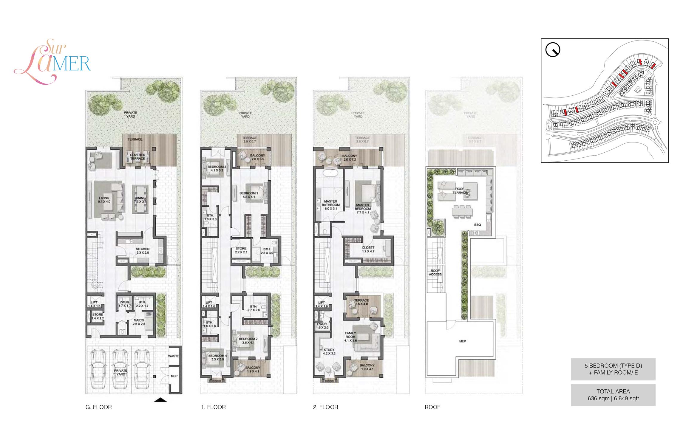 5 Bedroom Type D, Size 6849 sq.ft