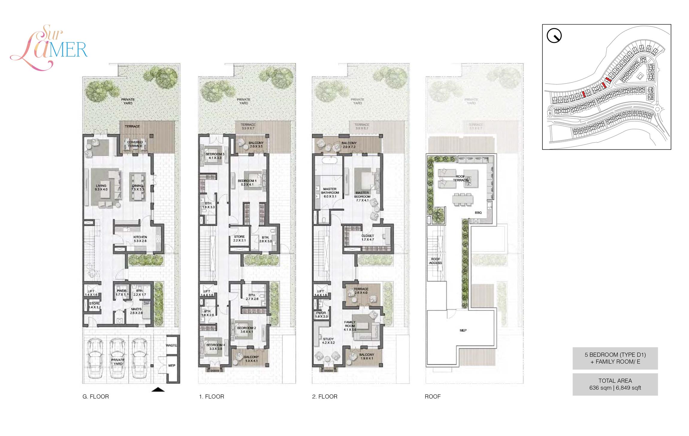 5 Bedroom Type D1, Szie 6849 sq.ft