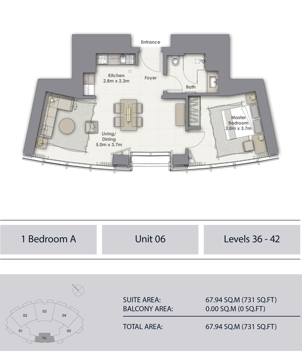 1 Bedroom A Unit-6, Level 36-42, Sizes 731 sq.ft