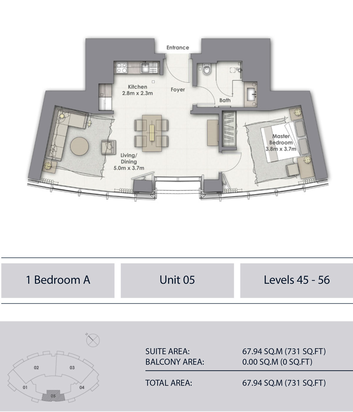 1 Bedroom A, Unit-5, Level 45-56, Sizes 731 sq.ft.
