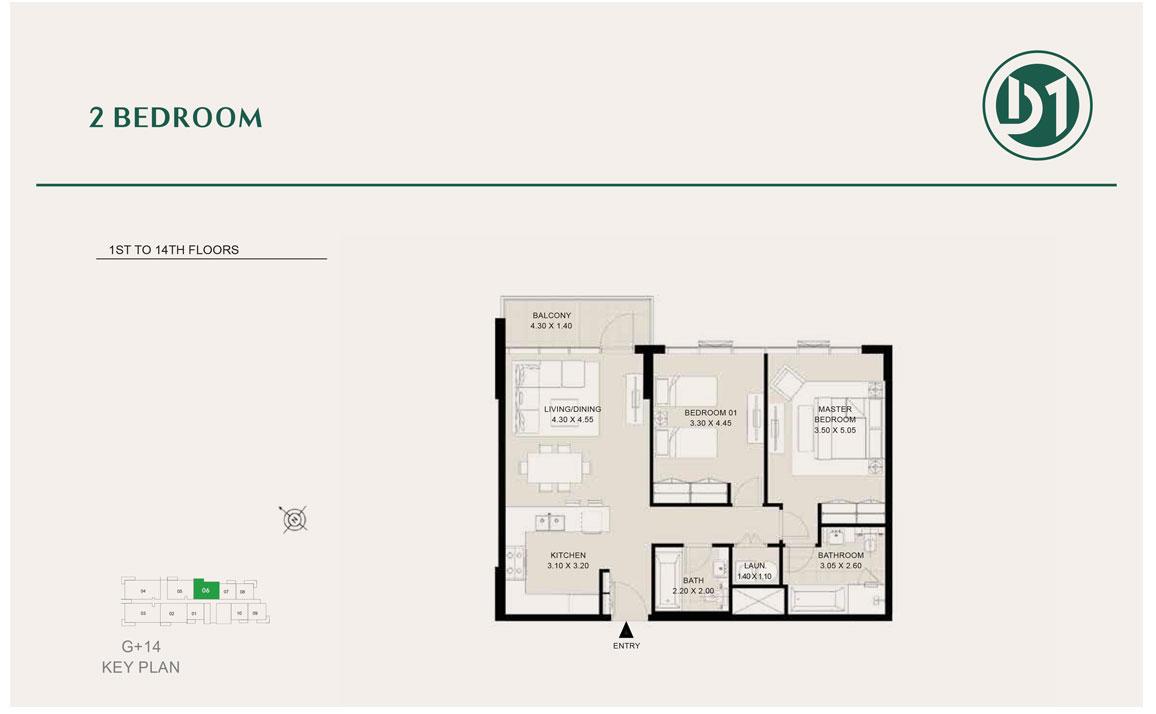 2 Bedroom, 1st to 14th Floor
