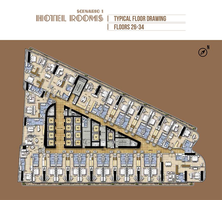 Hotel Rooms - Scenario 1 - Floor 26-34
