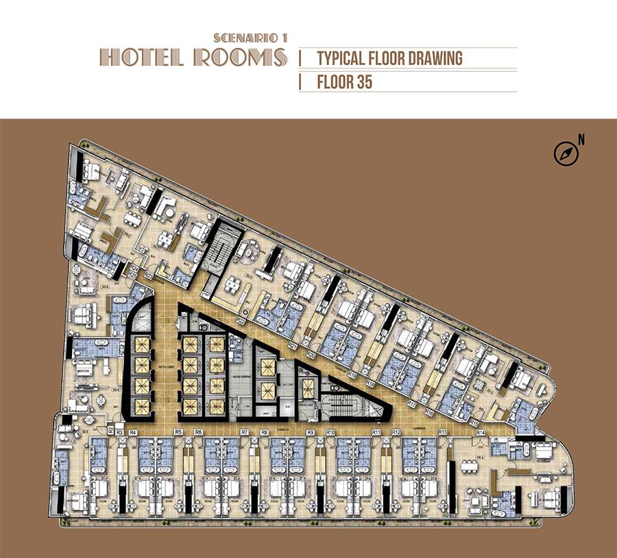 Hotel Rooms - Scenario 1 - Floor 35
