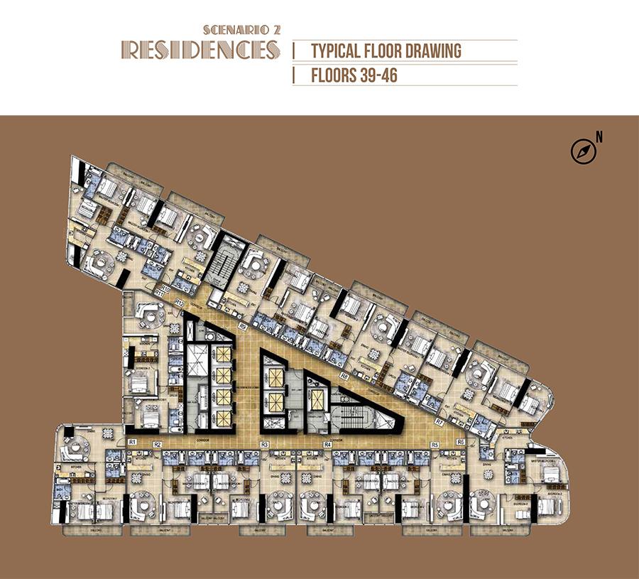 Hotel Rooms - Scenario 2 - Floor 39-46