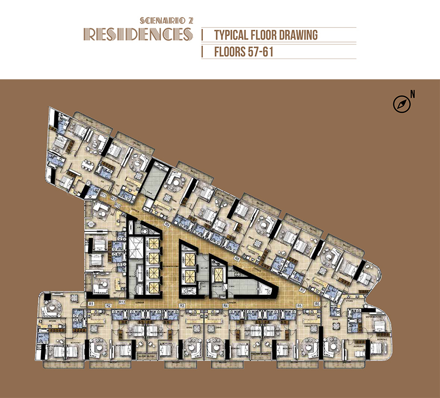 Hotel Rooms - Scenario 2 - Floor 56-61