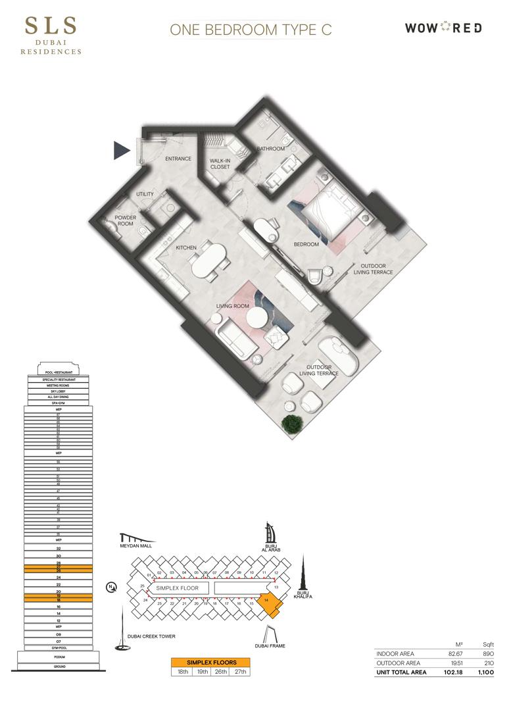 1 Bedroom Type C Size 1100 sq.ft