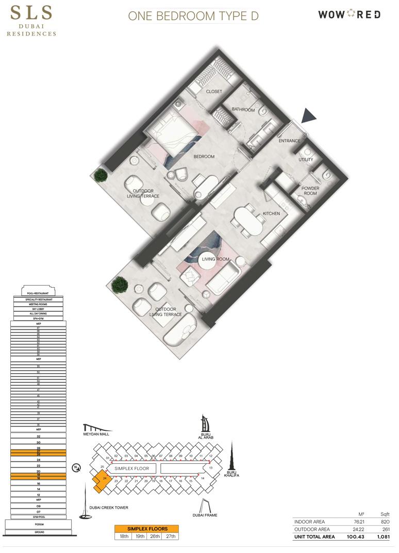 1 Bedroom Type D Size 1081 sq.ft