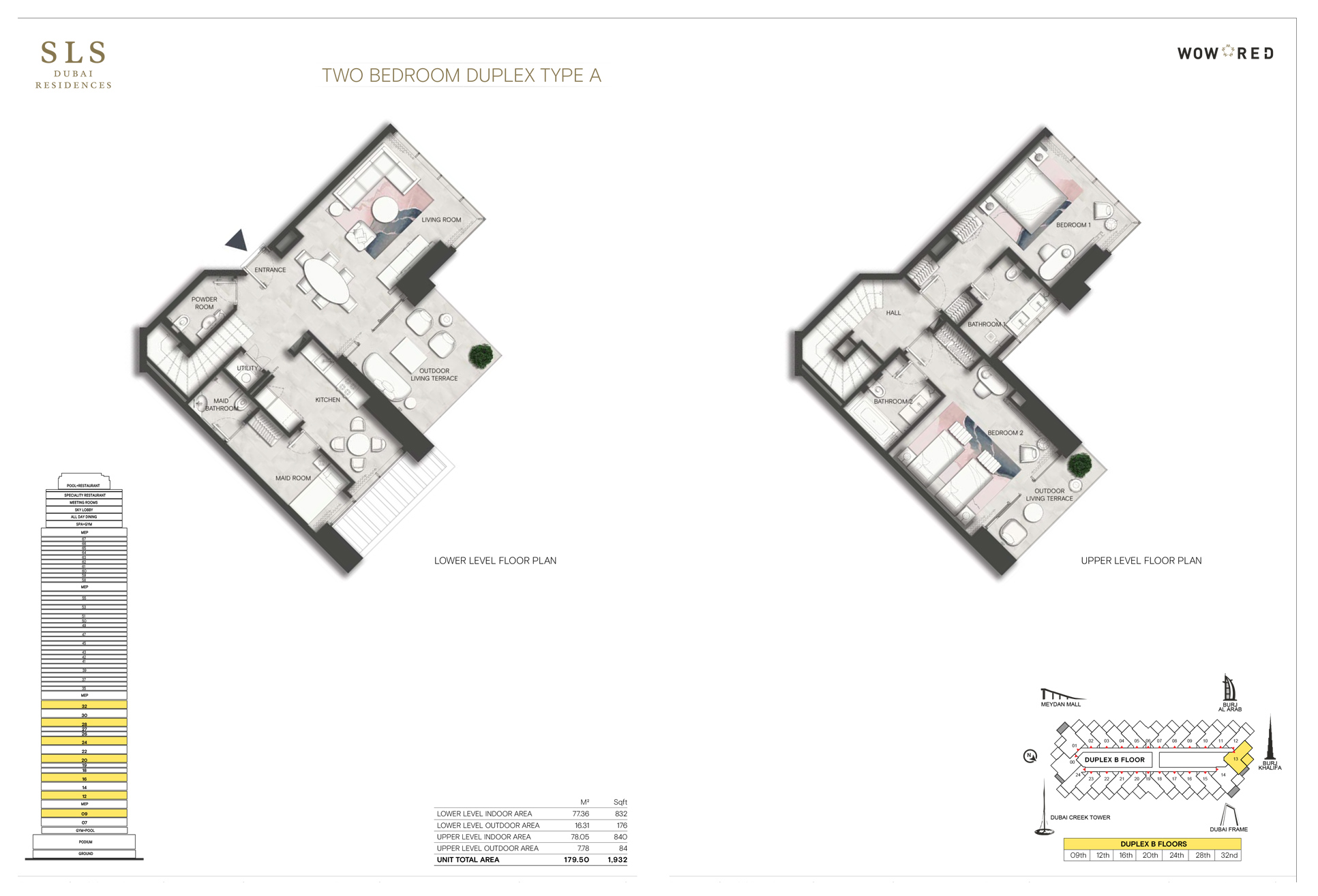 2 Bedroom Duplex Type A Size 1932 sq.ft