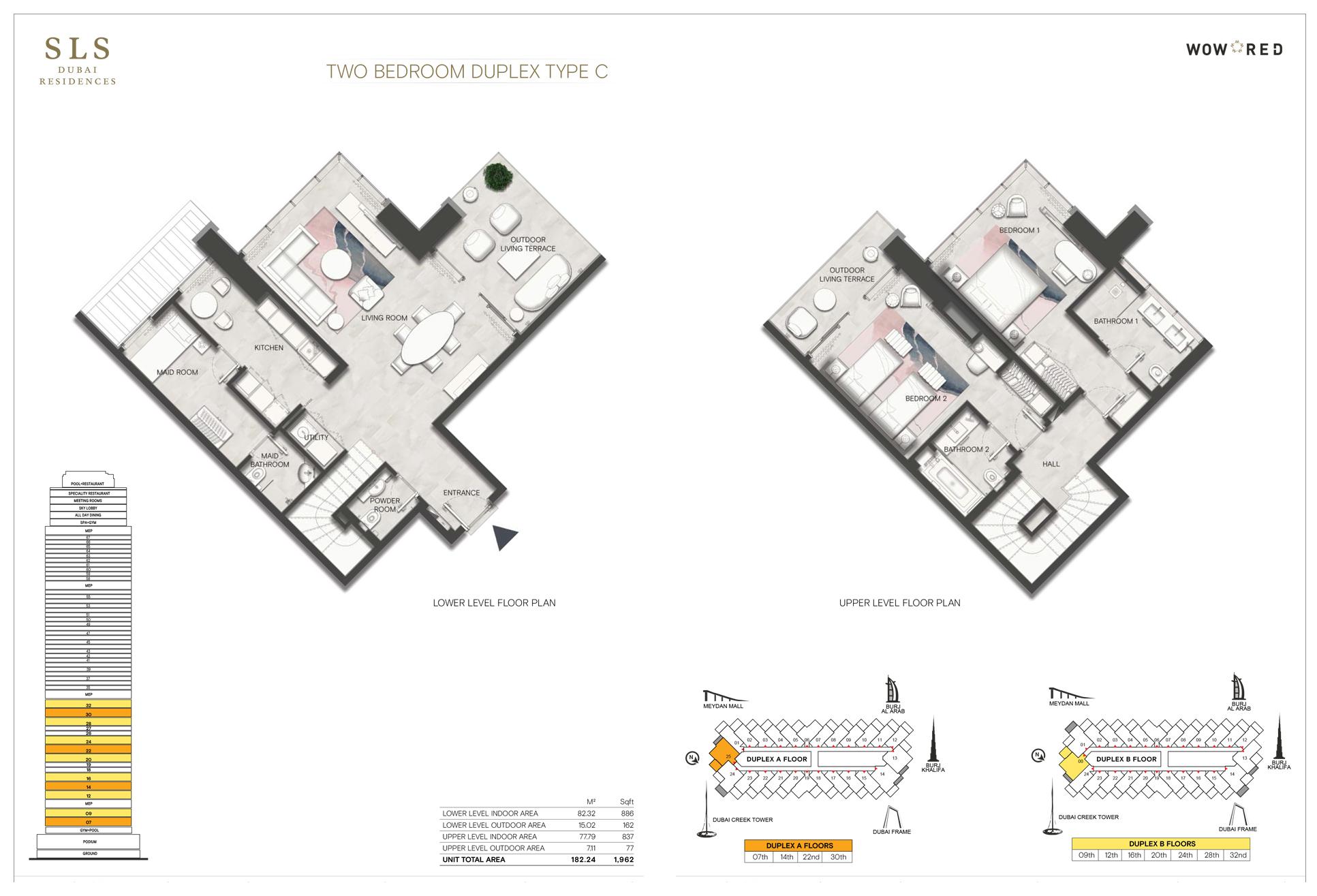 2 Bedroom Duplex Type C Size 1962 sq.ft
