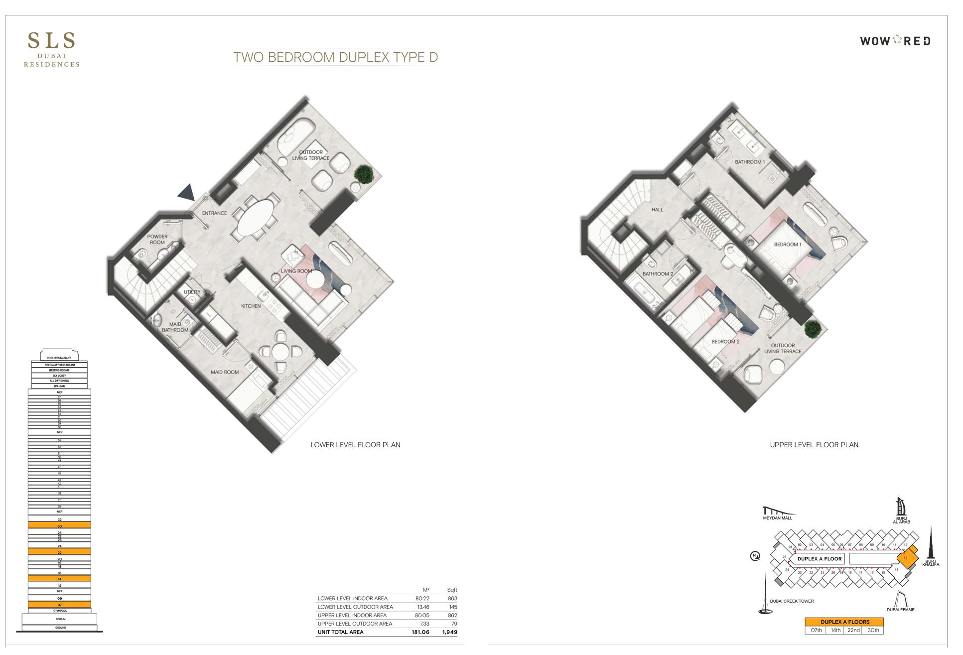 2 Bedroom Duplex Type D Size 1949 sq.ft