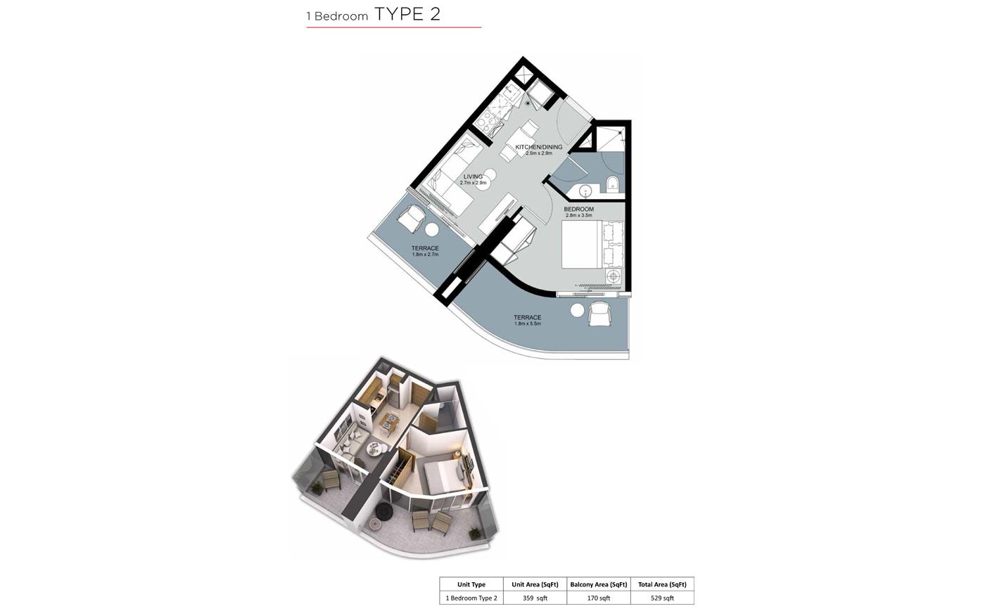 1 Bedroom Type 2, Size 529 sq.ft