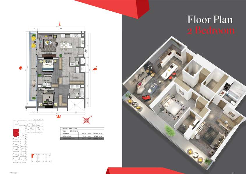 2 Bedroom, Size 1357 Sq Ft