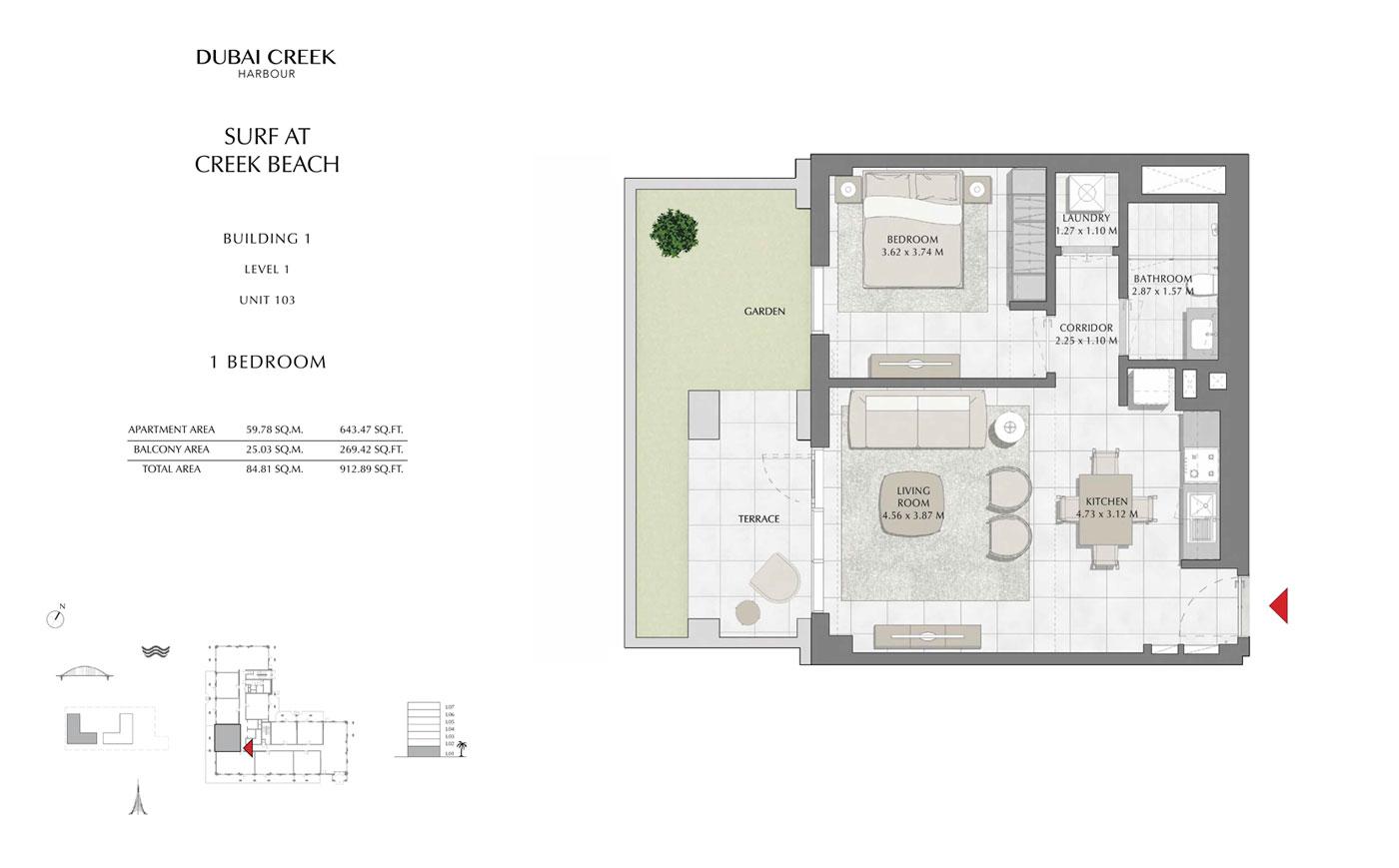 Building-1-1-Bedroom,-Level-1,-Unit-103,-Size-912.89-sq-ft