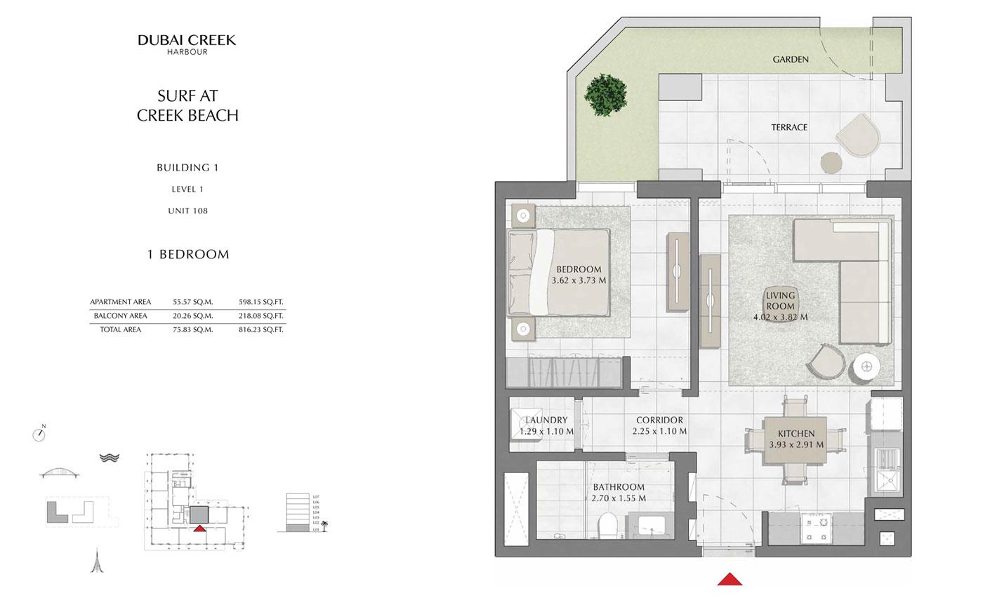 Building-1-1-Bedroom,-Level-1,-Unit-108,-Size-816 sq.ft