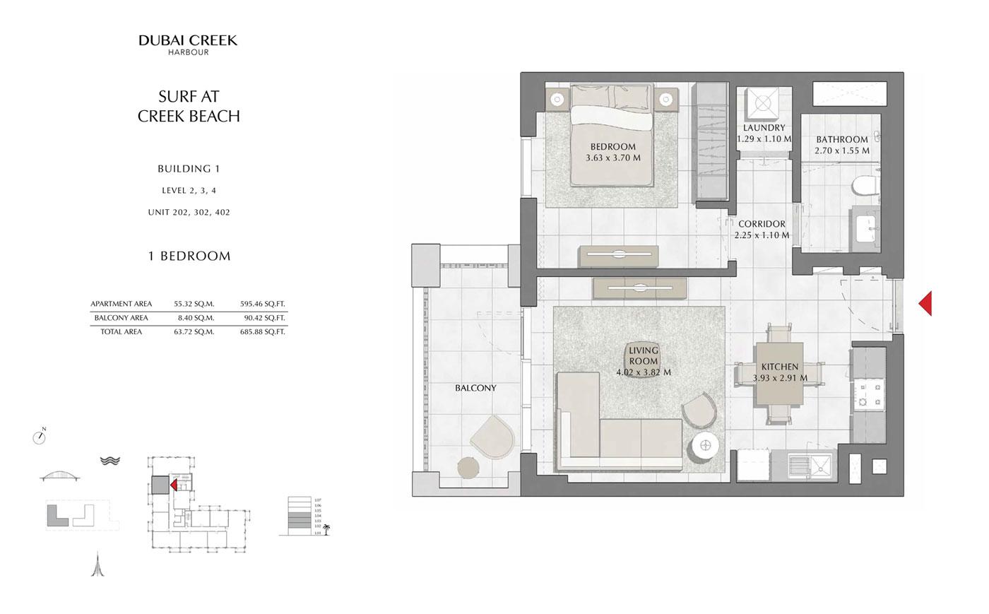 Building-1-1-Bedroom, Level-2-3-4,-Unit-202-302-402,-Size-685 sq.ft