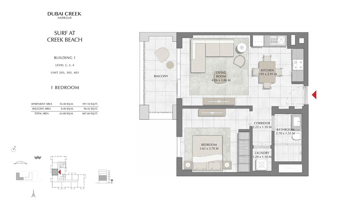 Building-1-1-Bedroom,-Level-2-3-4,-Unit-203-303-403,-Size-687 sq.ft
