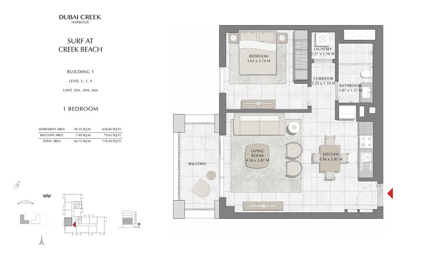 Building-1-1-Bedroom,-Level-2-3-4,-Unit-204-304-404,-Size-718.49-sq-ft