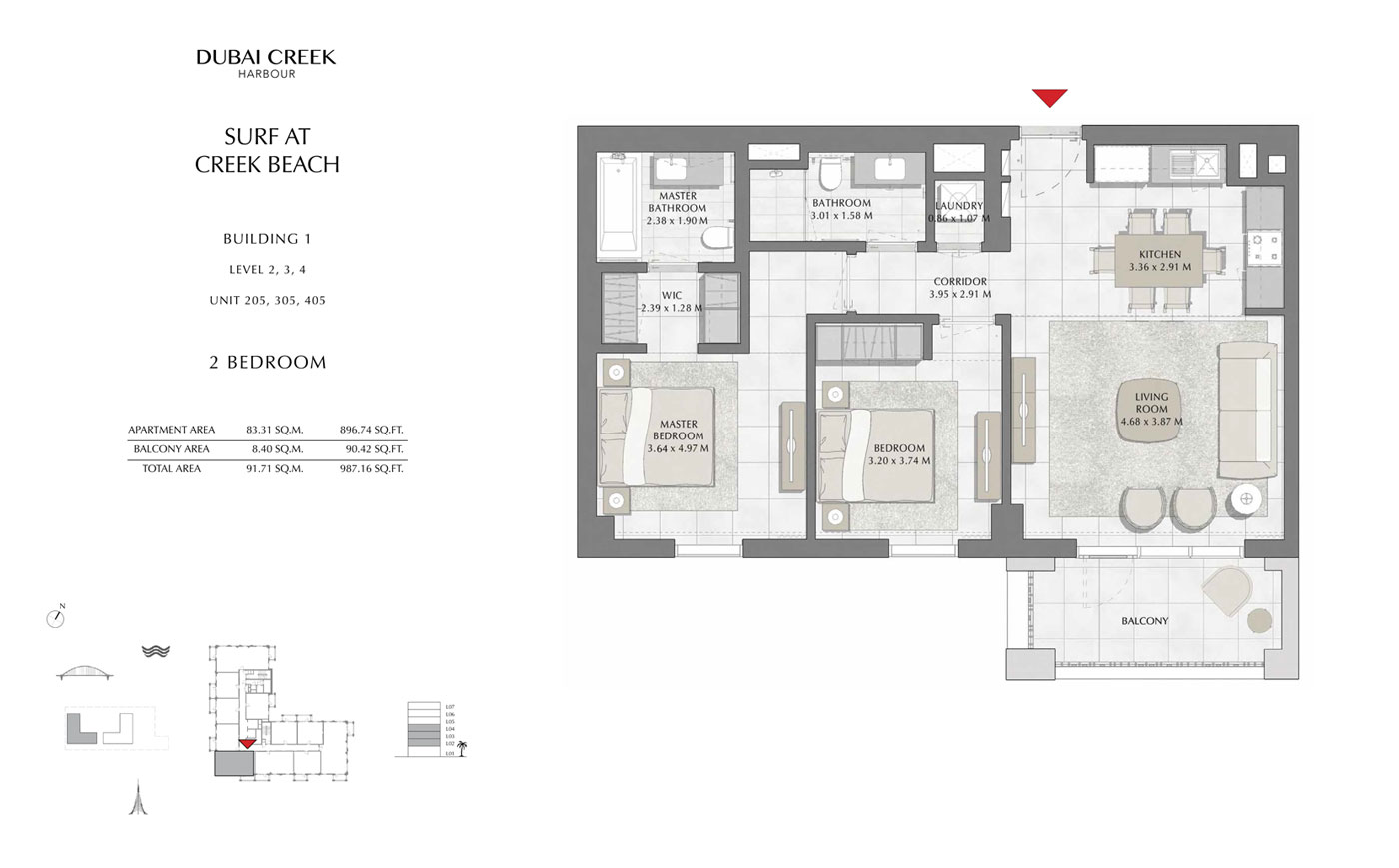 Building-1-2-Bedroom,-Level-2-3-4,-Unit-205-305-405,-Size-987 sq.ft