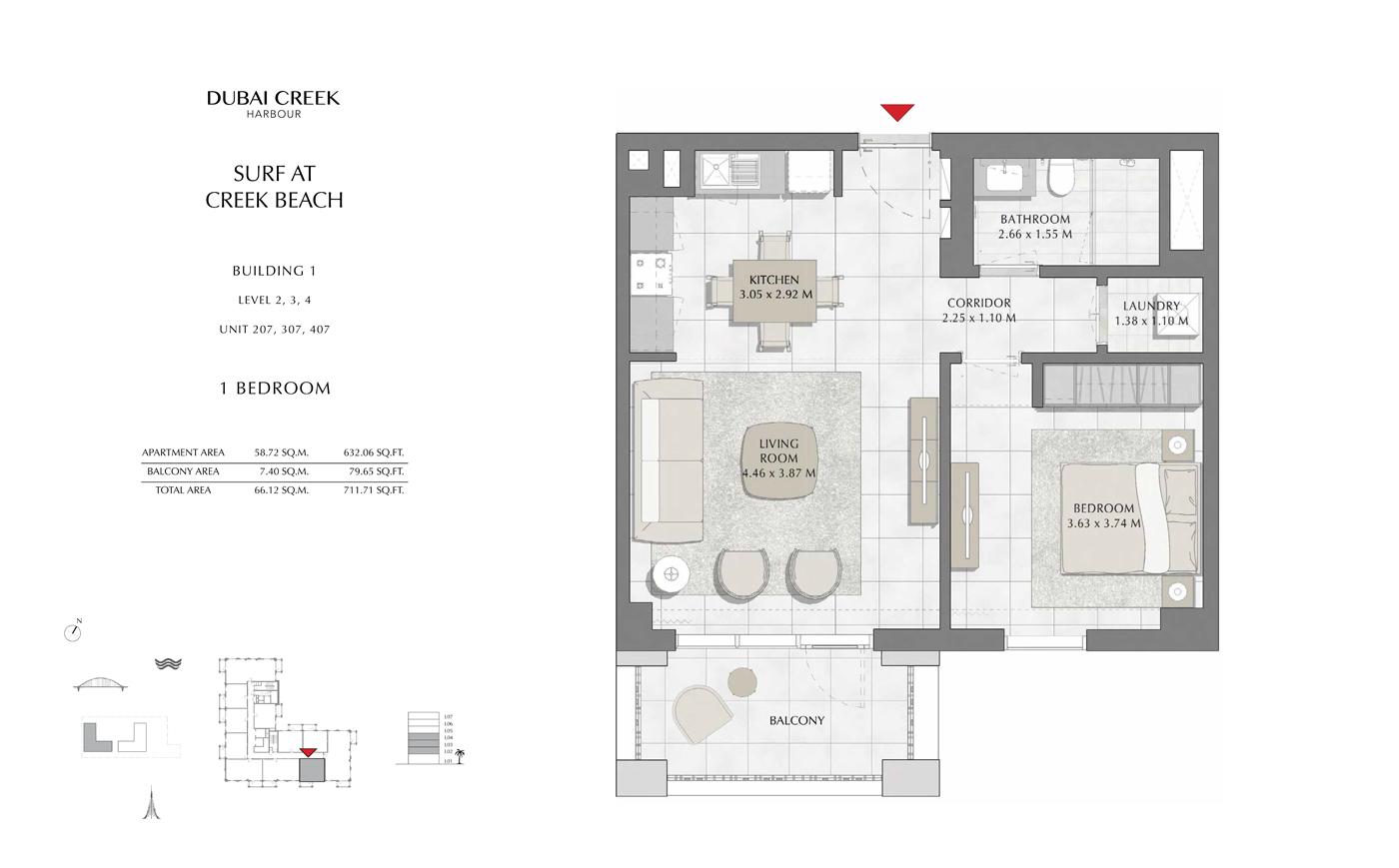 Building 1, 1 Bedroom, Level 2, 3, 4, Size 711 Sq Ft