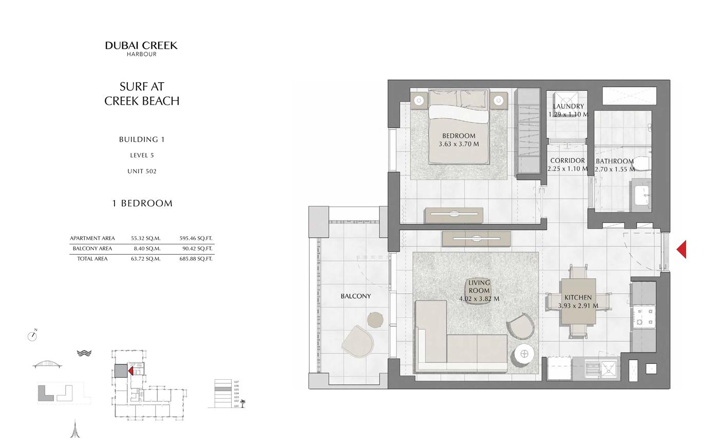 Building 1, 1 Bedroom, Level 5, Size 685 Sq Ft
